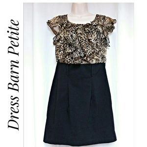 Dress Barn Leopard Ruffle Top Dress Petite Size 8